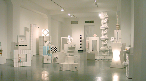 tiled structures with bathroom fixtures, various sizes, New York 2001
