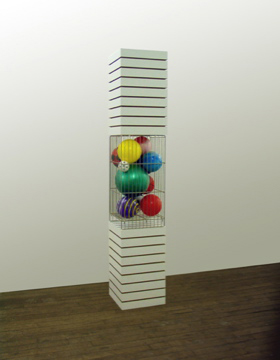 "83""x15 1/2""x15 1/2"", slotboard with metal and balls, New York 2004"